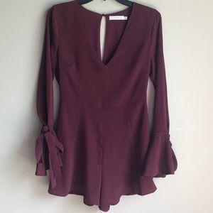 Lush burgundy long sleeve short romper